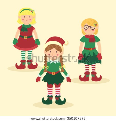 Christmas girl elves with different green and red costumes standing on simple yellow background.