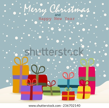 Christmas Git box  - stock vector