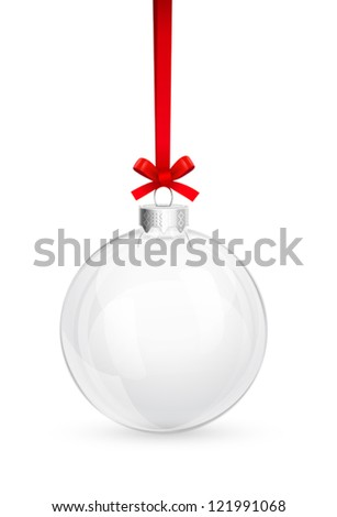 Christmas glass ball with red bow - stock vector