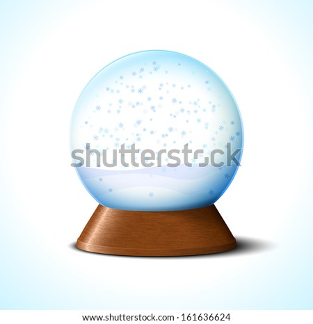 Christmas glass snow ball with snowflakes on white