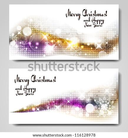 christmas gleaming banners - stock vector