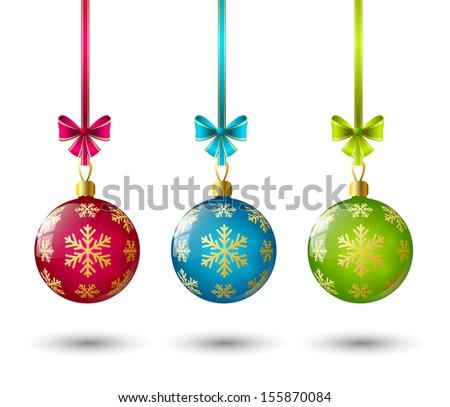 Christmas glossy balls on white - stock vector