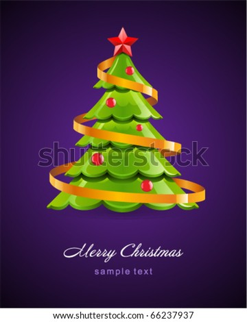 Christmas glossy tree with red star vector card - stock vector