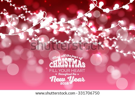 Christmas Glowing  Lights. Merry Christmas and Happy New Year Card Xmas Decorations. Blur Silver Snowflakes. Vector. - stock vector