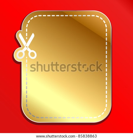 Christmas gold advertising coupon cut from sheet of paper - stock vector
