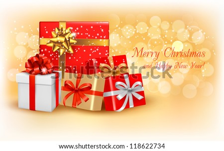 Christmas gold background with gift box and snowflake. Vector illustration. - stock vector