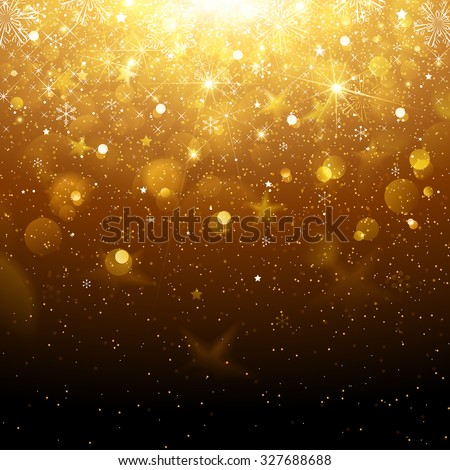 Christmas Gold Background with Snowflakes and Snow. Vector illustration - stock vector
