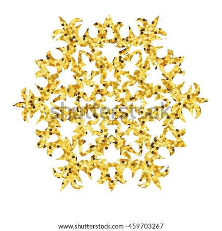 Christmas gold card with snowflake. Vector illustration