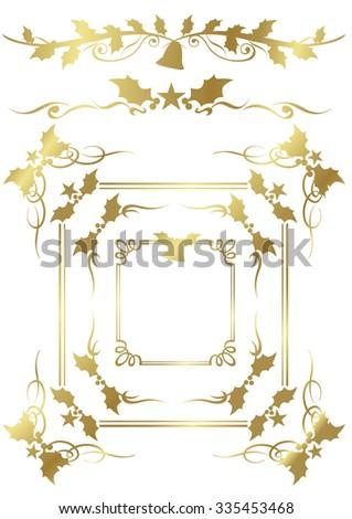Christmas gold frame set Vector - stock vector