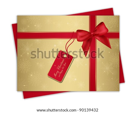 Christmas gold gift card with red ribbon and bow, for your information and design. Eps 10. - stock vector