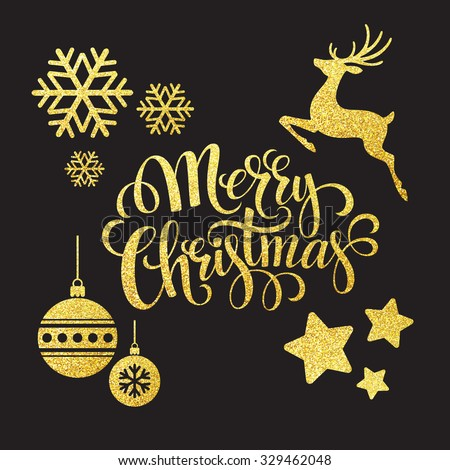 Christmas gold glitter  elements. Vector illustration EPS 10 - stock vector