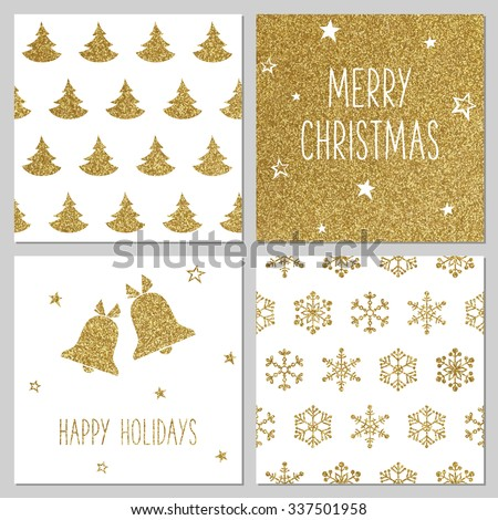 Christmas gold pattern, greeting card templates - stock vector