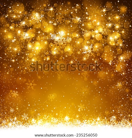 Christmas golden background with snowflakes and snow - stock vector