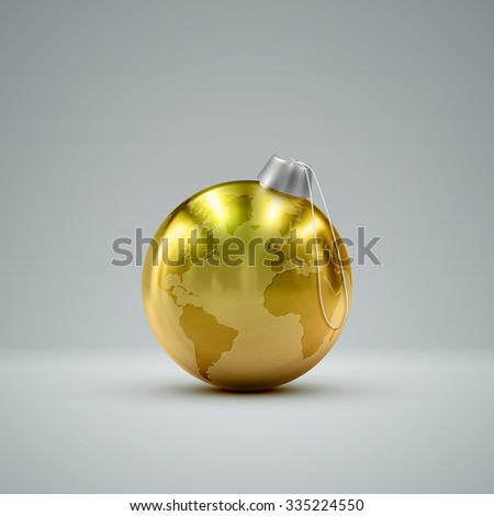 Christmas golden ball. Holiday vector illustration of traditional festive Xmas bauble with global map. Merry Christmas and Happy New Year greeting card design element.  - stock vector