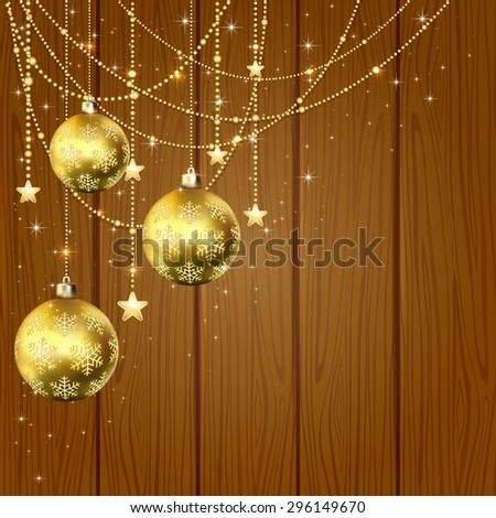 Christmas golden balls and decorative elements with stars on wooden background, illustration. - stock vector