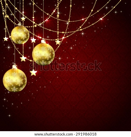 Christmas golden balls, stars and decorative elements on red wallpaper, illustration. - stock vector