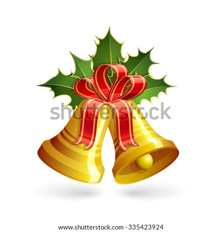 Christmas golden bells with holly and red bow. Vector illustration - stock vector