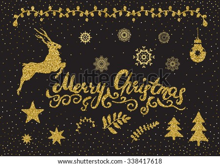 Christmas golden glitter design elements set. Isolated on the abstract confetti background. - stock vector