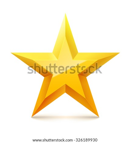 Christmas golden star with reflection on white background. Vector illustration. - stock vector