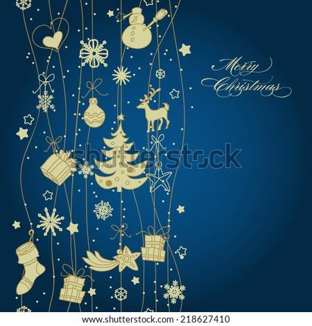 Christmas golden vertical decoration, seamless pattern - stock vector