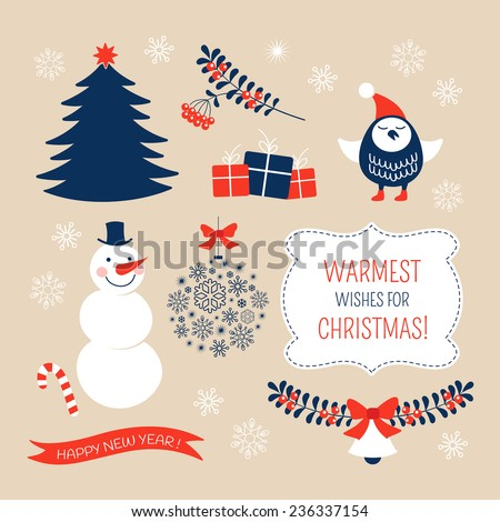 Christmas graphic design elements - stock vector