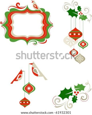 Christmas graphic elements - frame, birds and decorations - stock vector