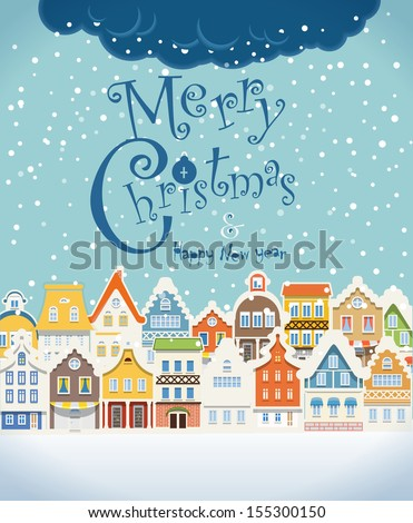 Christmas greating card. Vintage buildings with snowfall on Winter - stock vector