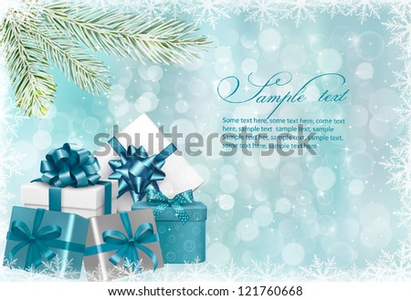 Christmas green background with gift boxes and snowflake. Vector illustration.