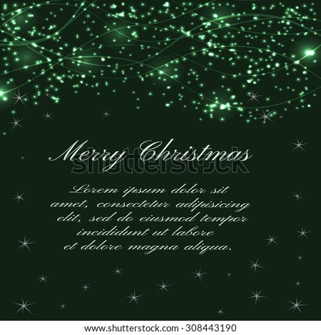 Christmas green background with glittering waves and  sparkles. Vector background for flyer, blank, card, banner, invitation, brochure cover design template. - stock vector