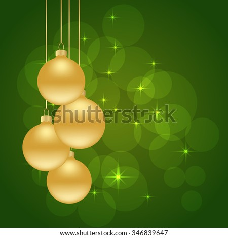 christmas green background with golden balls hanging and stars. vector illustration