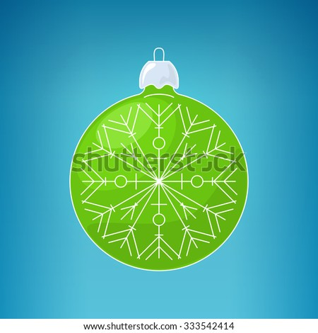 Christmas Green Ball with Snowflake, Christmas Ball on a Blue Background, Christmas Tree Decoration, Merry Christmas and Happy New Year,  Vector Illustration - stock vector