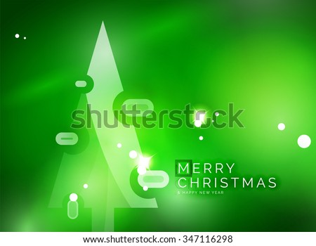 Christmas green color abstract background with white transparent snowflakes. Holiday winter template, New Year layout - stock vector