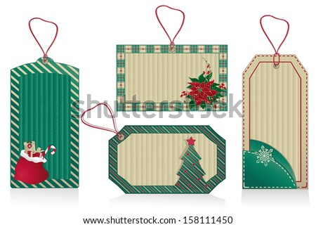 Christmas green labels from kraft recycled paper.