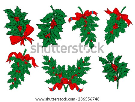 Christmas greens and holly berry branches with red ribbons for seasonal holiday design - stock vector