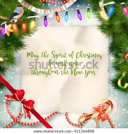 Christmas greeting against a winter landscape. EPS 10 vector file included - stock vector