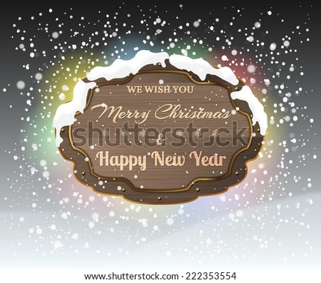 Christmas greeting background - holidays lettering on a wooden shield - stock vector