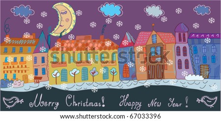 Christmas greeting banner with town