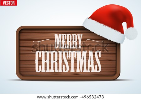 Christmas Greeting Board. Merry Christmas tag on wooden background. Winter Holiday Invitation and greeting card. Editable Vector illustration Isolated on white background.