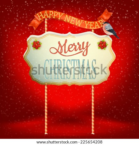 Christmas greeting Calligraphy - Vintage Signboard. EPS 10 vector file included - stock vector