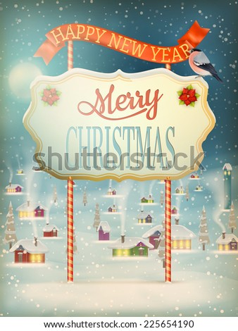 Christmas greeting Calligraphy - Vintage street with Signboard. EPS 10 vector file included - stock vector