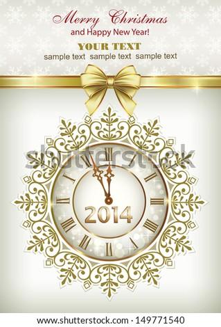 christmas greeting card 2014  - stock vector