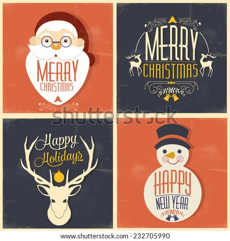 Christmas greeting card. - stock vector