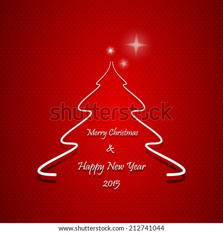 Christmas greeting card, Abstract Christmas tree with Merry Christmas and Happy New Year 2015 text, on red background  - stock vector