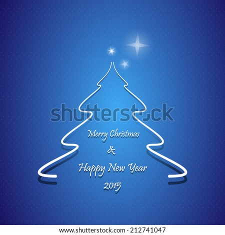 Christmas greeting card, Abstract tree with Happy New Year 2015 text, on blue background