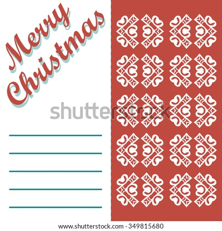 Christmas greeting card and patterns vector background. Merry Christmas holidays wish design and vintage ornament decoration. Happy new year message. Vector illustration. - stock vector