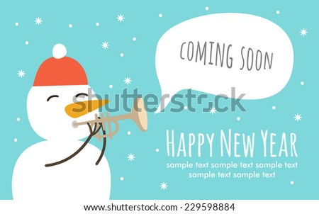 Christmas greeting card and Snowman character. Merry Christmas and holidays wish Vector background.  - stock vector