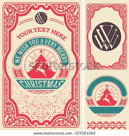 Christmas greeting card background. All elements by layers - stock vector