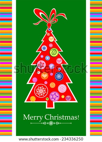 Christmas greeting card. Celebration background with Christmas tree and place for your text. Vector Illustration  - stock vector
