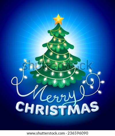 christmas greeting card. christmas tree with lights - stock vector