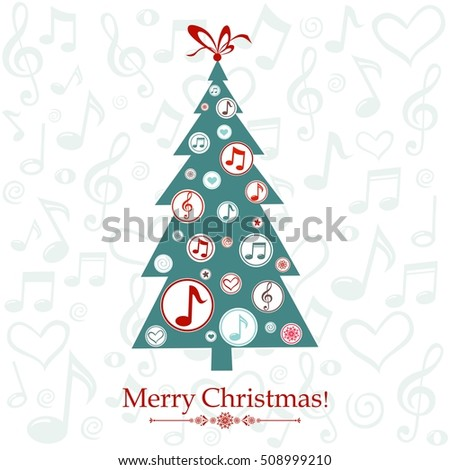 Christmas greeting card christmas tree musical stock vector christmas greeting card christmas tree with musical notes vector illustration m4hsunfo